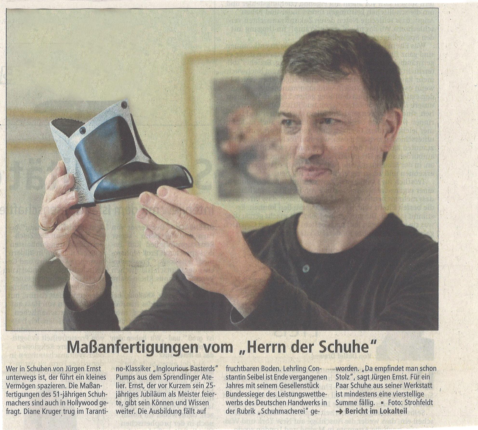 Jürgen Ernst - Der Herr Der Schuhe - 2010 Offenbach Post - Maßanfertigungen