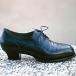 Der Herr der Schuhe - Frankfurt - Damen Schnürhalbschuhe Derby – Massschuhe aus schwarzem Kalbleder und Eidechsenleder