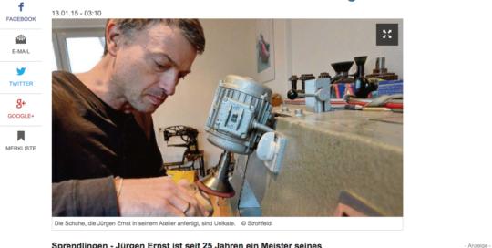 Presseausschnitt Maßschuhmacher-Meister Jürgen Ernst