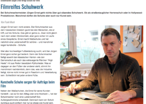 Presse Ausschnitt Maßschuhmacher-Meister Jürgen Ernst