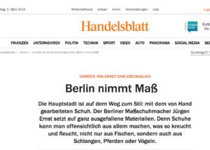 Jürgen Ernst, Maßschuhmacher Berlin und Frankfurt, Handelsblatt